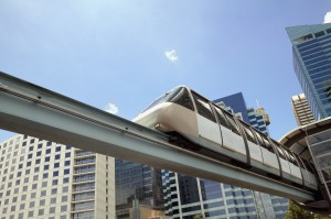 Low angle view of a monorail in an urban setting